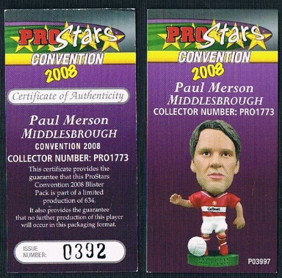 2006 Corinthian prostars convention pro1773 Paul Merson Middlesbrough card